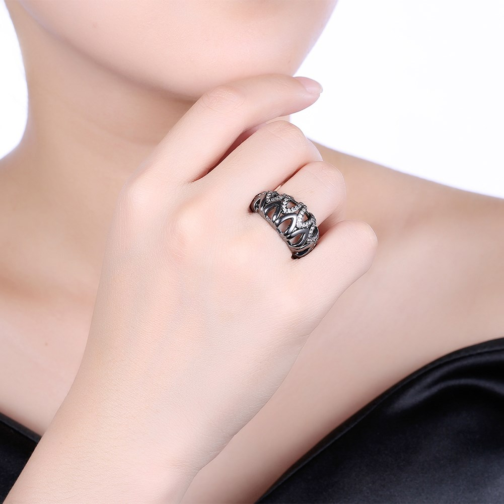 Trendy Fashion Wedding Hollow Rings for Women Vintage White CZ Stone ...