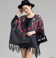 2018 Pull Pullover Cardigan Womens Capes And Ponchoes Winter Cape With Tassel Women's Sweater Fashion Vintage Bohemian M005