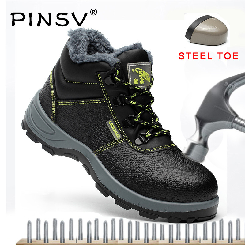 PINSV Unisex Steel Toe Safety Boots Men Safety Shoes Leather Work Boots Men Shoes Black Ankle Work Boots Plus Size 35-47 plus size 36 46 genuine leather women ankle boots hiking shoes women work safety shoes