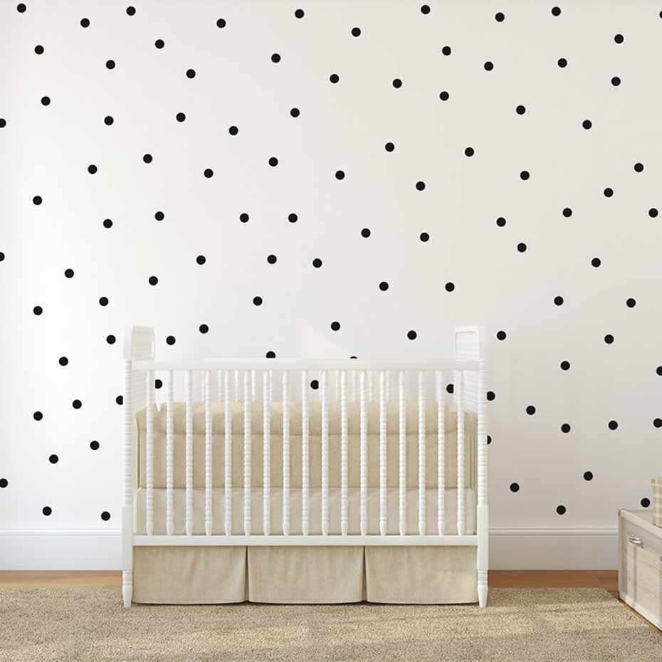 Gold Polka Dots Wall Sticker Removable Circle Round Wall Decal Artistic Design Wallpaper Mural For Kid Room Home Decoration