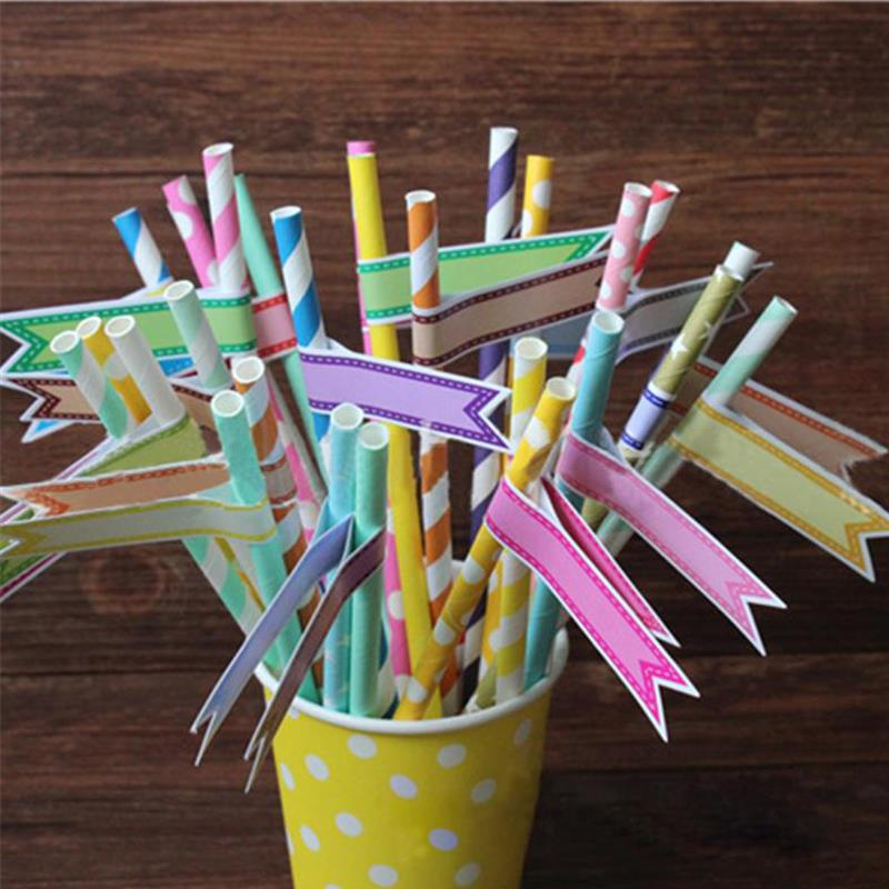 Wholesale 75pcs Funny Wedding Birthday Party Decoration Straw Labels Mixed Color Paper Tag Stickers For Food/Drink Picks #03