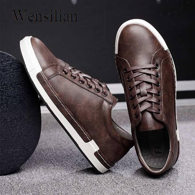 جينتلمان الفاخرة أحذية من الجلد الرجال أحذية رياضية الرجال المدربين الدانتيل متابعة شقة أحذية قيادة Zapatillas Hombre عادية