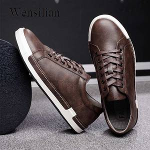 Image 1 - Gentlemans Luxury Leather Shoes Men Sneakers Men Trainers Lace Up Flat Driving Shoes Zapatillas Hombre Casual