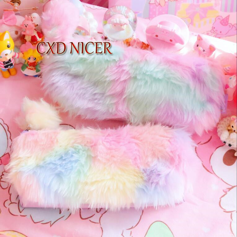 Harajuku Soft Gradient Plush Pencil Case Cosmetic Stationery Store Pencil Cases For Girls Pen Case With Pompon School Supplies women make up cases small cosmetic bags child girls boys stationery school supplies