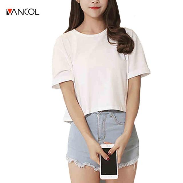 91c2582472b vancol 2017 short sleeve female t-shirt causal o neck crop top solid color  basic tee shirt loose white summer short women tops