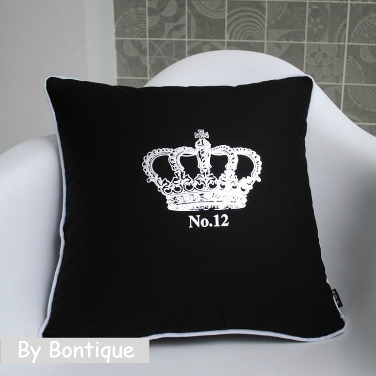 fancy luxury cushion cover imperial crown throw pillow case black decorative crown canvas pillow covers cushions sofa decor 18 - Black Decorative Pillows