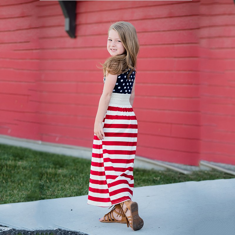 July 4th Family Matching Dress Mother Daughter American Flag Stripe Summer Dresses Mommy And Me Dresses Family Outfits