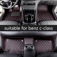 lsrtw2017 fiber leather car interior floor mat for mercedes benz c class c200 c180 c300 w204 w205 w203 w202 2000 2020 2019