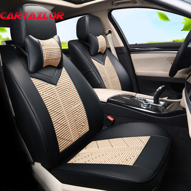 CARTAILOR Car Seats Fit For Jeep Wrangler Seat Covers Cars Accessories Ice Silk PU Leather