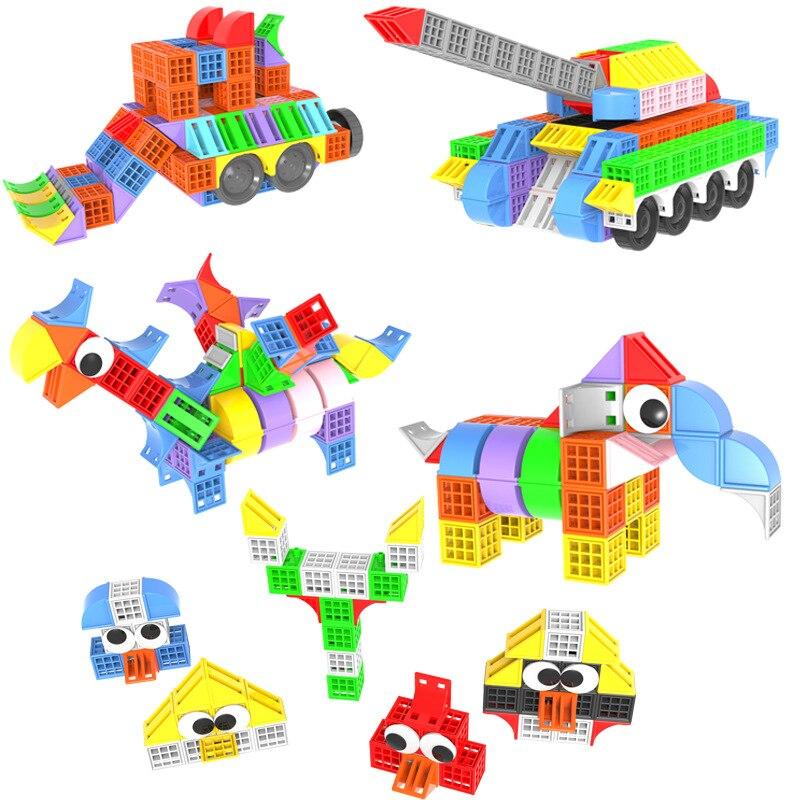 Kids Plastic Cube Building Blocks Educational Toys For Children 3D Creativity Construction Toy Baby DIY Design Funny Bricks