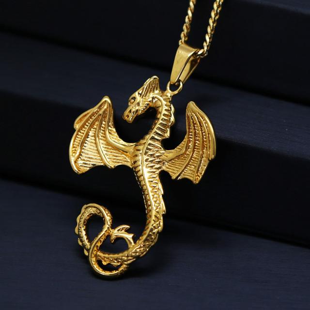 Chapado En oro Del Dragón colgantes collares Hiphop Manera de la Alta Calidad 60 cm de largo collar de Cadena de oro de los hombres bijouterie accesorios