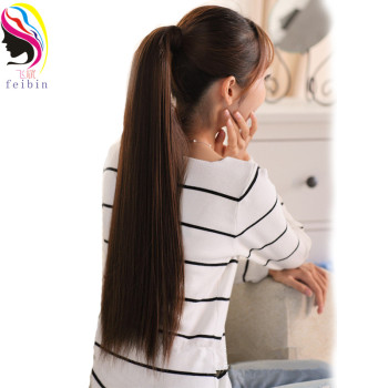Feibin Synthetic Tie on Ponytail Hair Extension Tail Hairpiece Long Straight  Women's Hair Extensions 24inches B44