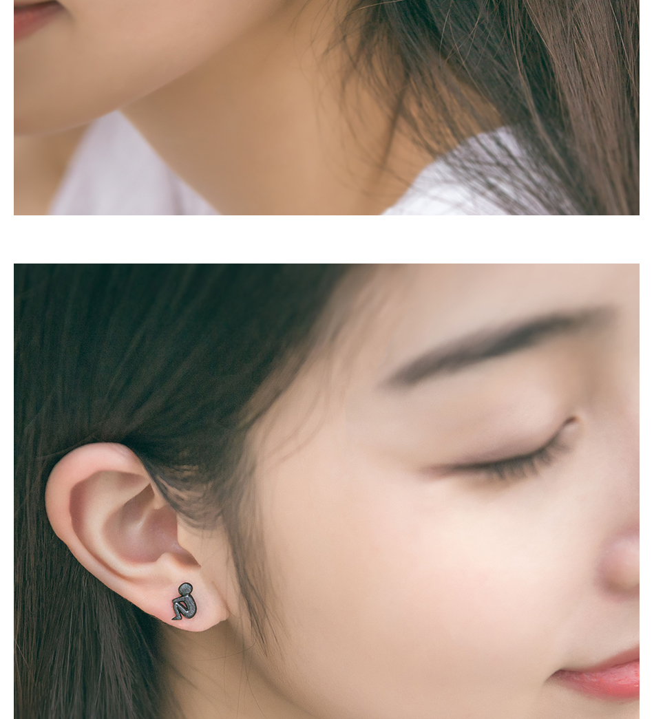 HTB1N12jE7yWBuNjy0Fpq6yssXXaz Thaya Picking Gold Stars for You Design Stud Earrings s925 Silver Asymmetry Figure Earring for Women Elegant Texture Jewelry