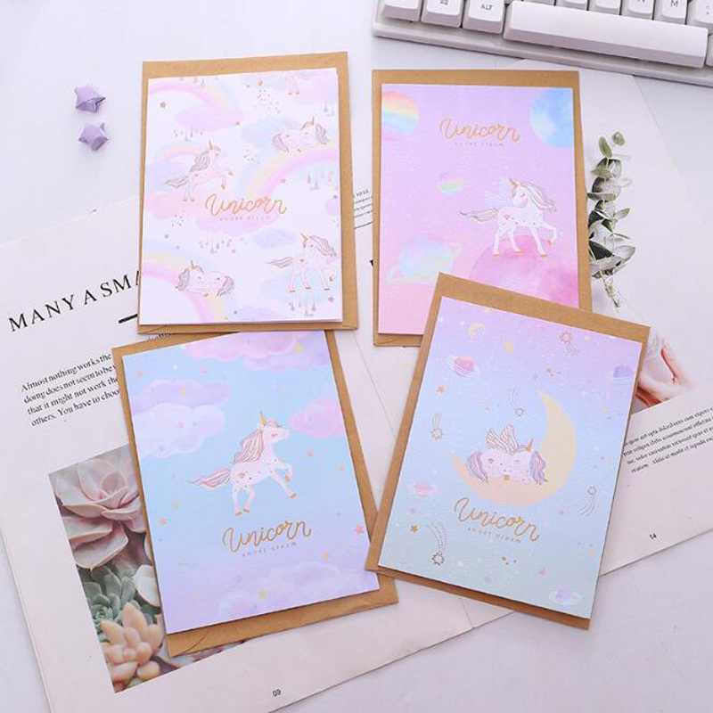 Cosmic Unicorn Universal Card Cartoon Creative Message Blessing Birthday Card Christmas New Year'S Day Thank You Card Envelope