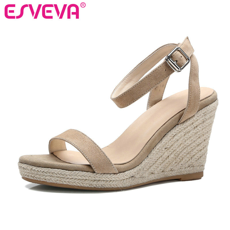 ESVEVA 2017 Women Pumps Platform Summer Ankle Strap Shoes Wedges High Heel Pumps Genuine Leather Wedding Women Shoes Size 34-39 esveva 2017 thin high heel women pumps platform white peep toe wedding shoes sexy ol white ankle strap summer shoes size 34 43