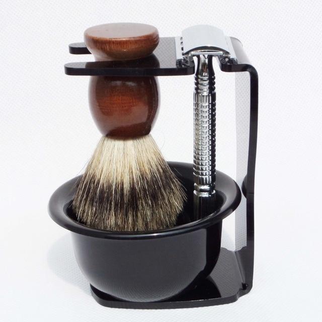 4pc/set Shaving Kit Badger Shaving Brush Safety Razor Acrylic Shave Stand and Bowl