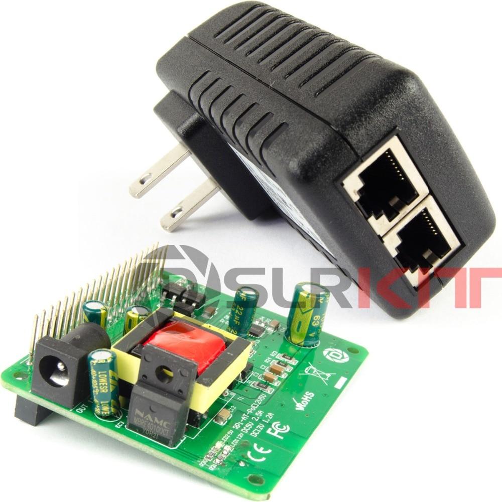 DSLRKIT Gigabit Raspberry Pi 4 4B 3B + 3B Plus 5V 12V double sortie PoE Kit (chapeau + injecteur)