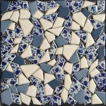 Azulejo de mosaico de cerámica esmaltado con fragmento Irregular azul de China, azulejo de pared para suelo de piscina o escalera de baño de ducha