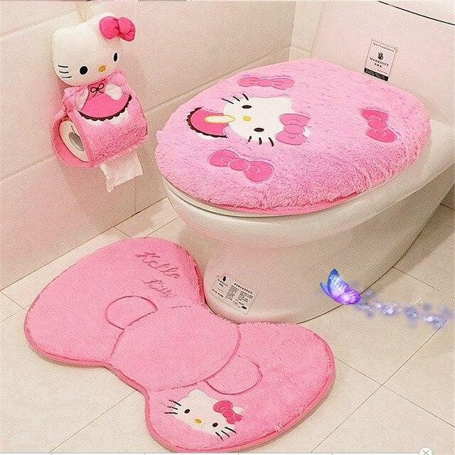 4 pz/set Ciao kitty set da bagno sedile del water copertura wc copertura di sede