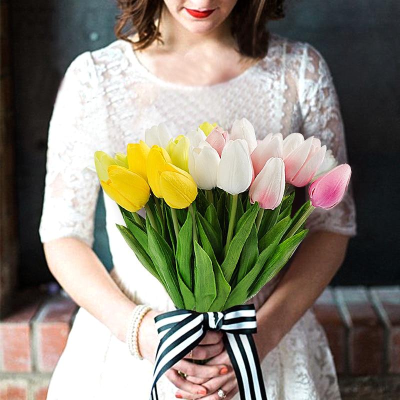 10 stücke mini tulpen für home dekoration künstliche gefälschte blumen hochzeit blume real touch kunststoff tulpen bouquet party dekoration