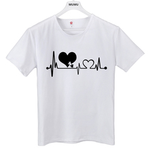 5bf12e21af9 Autism Heartbeat Lifeline Creative T Shirt Men women Printed letter Tee Tops  Leisure outdoor short T