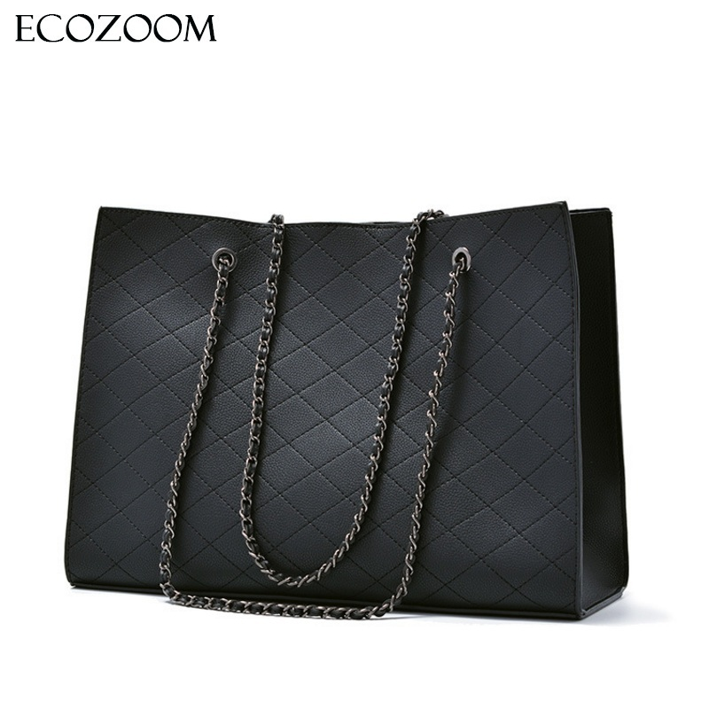 Fashion Woman Large Quilted Chain Shoulder Bag Ladies Luxury PU Leather Handbag Plaid Casual Tote Female Crossbody Messenger Bag fashion new design pu leather lotus wave female chain purse shoulder bag handbag ladies crossbody messenger bag women s flap