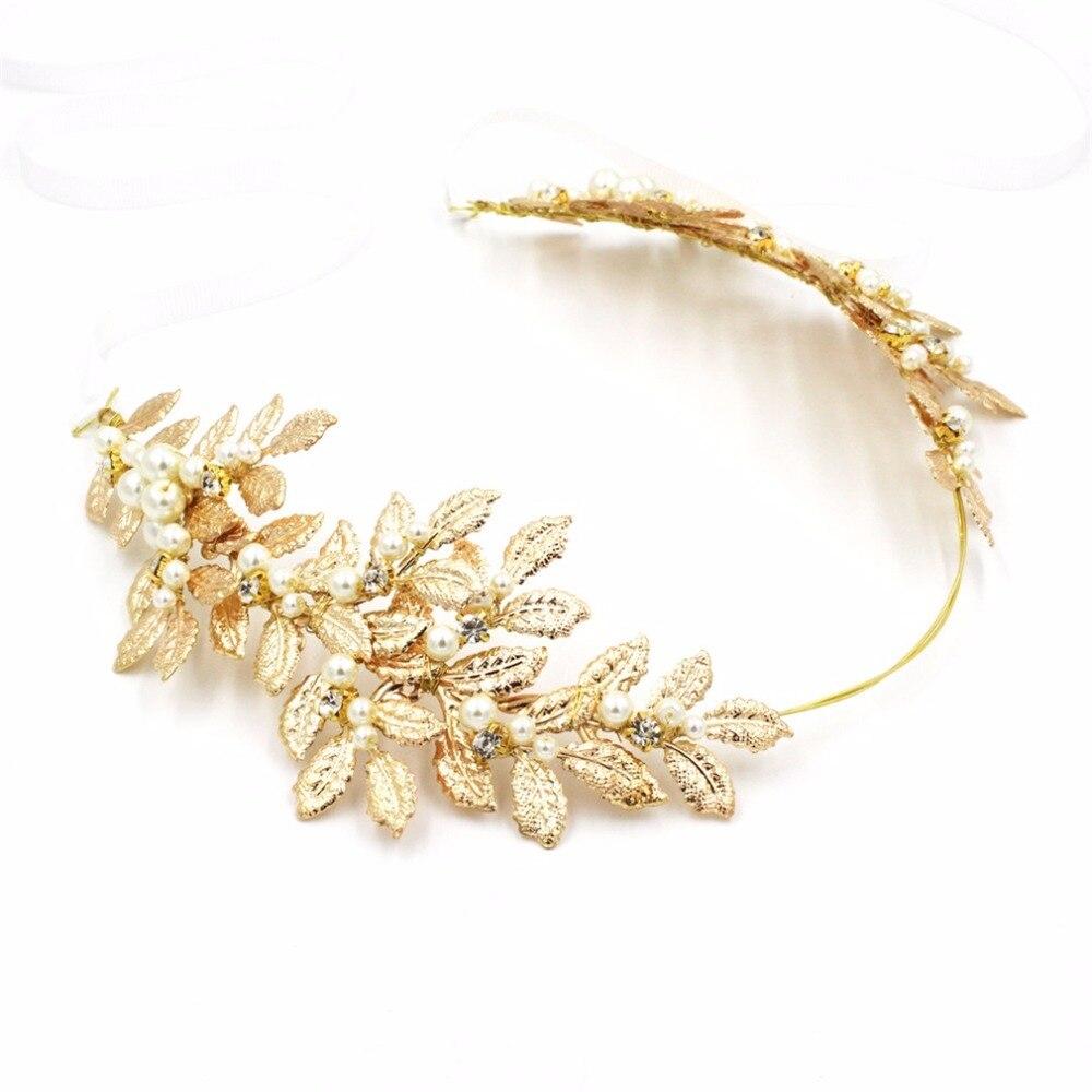 Women Girls Boho Jewelry Leaf Headband Gold Hair Leaf Crown Tiara Golden Headbands Feuille or Couronne Cheveux Hair Band