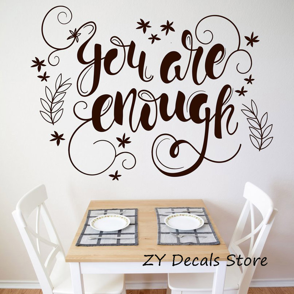Office Vinyl Decal Wall Sticker Words You Are Enough Motivation Poster Quote Wall Decals Home Decor Living Room Bedroom S632
