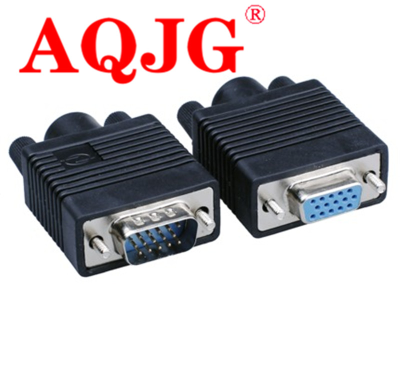 Computer & Office 2pcs Vga Plug 15pin/hole 3 Rows Db15 Male Female Welding Head Black Glue Plastic Shell Gold-plated Video Wiring Connector Rated
