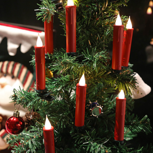 set of 10 led taper candle with timer remote control battery operated led christmas - Remote Control Christmas Tree