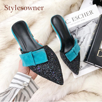 Stylesowner bowtie patchwork bling bling sequines half slippers women fashion pointed toe low heel cozy women mules shoes slides