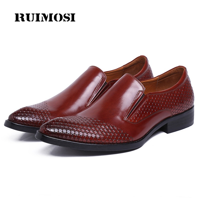 RUIMOSI Pointed Toe Heels Man Casual Shoes Genuine Leather Male Loafers Luxury Brand Designer Bridal Men's Wedding Flats AD43