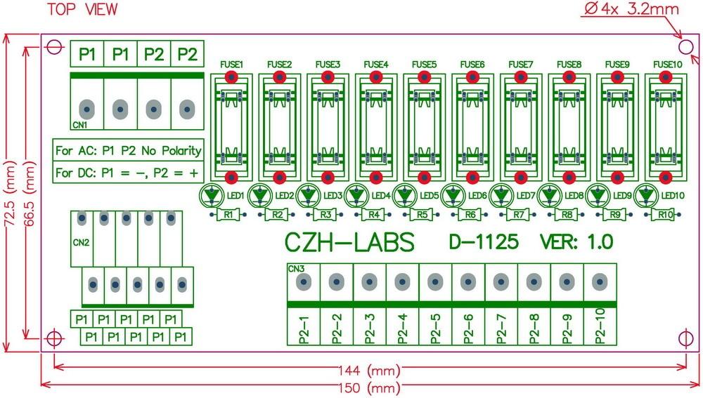 Electronics-Salon Support panneau 10 Position Power Distribution Module Board Fusible pour AC//DC 5 ~ 48.