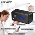 Smartphone live view camera mini ip wifi camera alarm clock infrad noite câmera de visão 720 p hd motion detecção de micro câmera