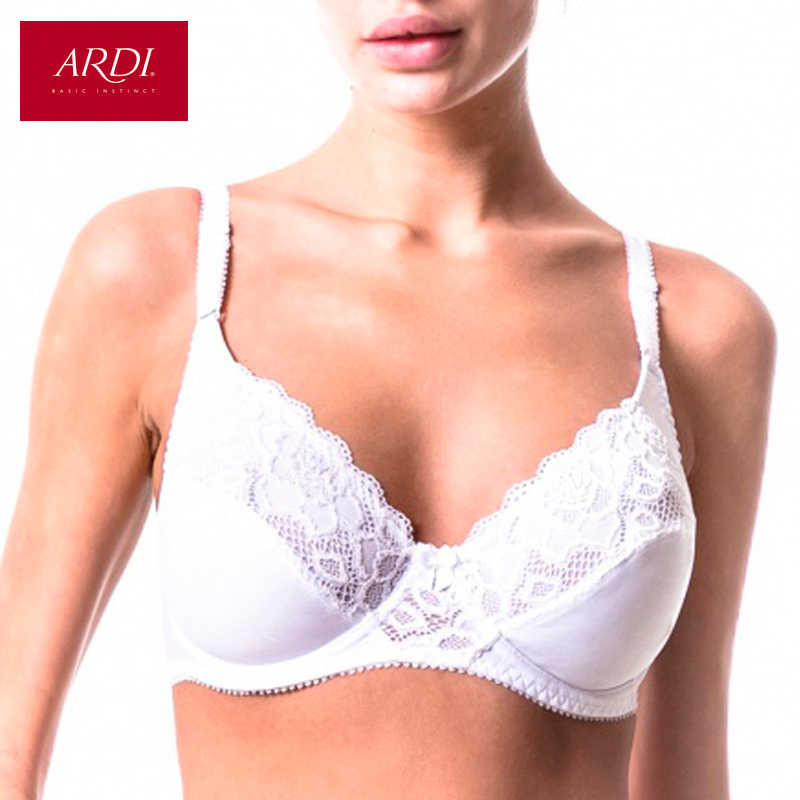 2d5a698533 Woman s Bra Lace White Soft Cup Cotton Lining Large Size for Big 80 85 90 95