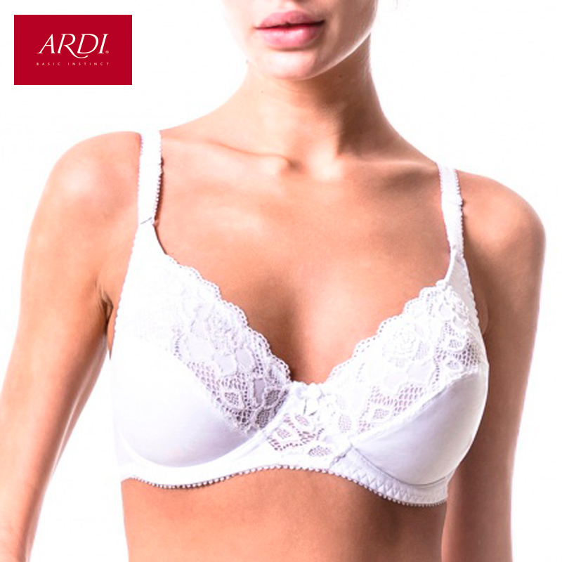 Woman's Bra Lace White Soft Cup Cotton Lining Large Size ...