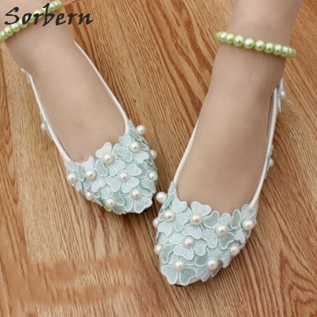 bc8d72405d517f Sorbern Mint Green Cute Flower Wedding Shoes Beading Straps Women Flat Shoes  2018 Spring Women Shoes