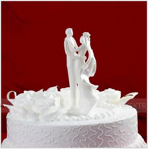 """Doux danse"""" blanc mariée et le marié g¢teau de mariage topper couple"""