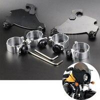 BLACK Aluminum Motorcycle Fork Headlight Fairing Brackets Trigger Lock Mount Kits For 1986 2016 Harley Dyna FXD FXDC FXDL FXDB