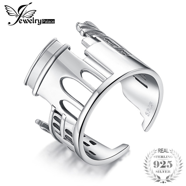 JewelryPalace 925 סטרלינג כסף בציר עולם נסיעות מזכרות שיש קשת מתכוונן להרחיב טבעת חדש מכירה לוהטת כמו יפה מתנה
