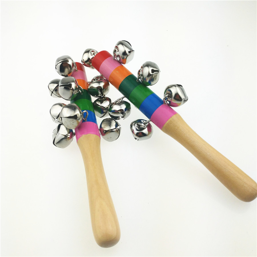 2pcs/lot Wooden Baby Rattle Toys For Kids Baby Toy For 0-12months Rainbow Colorful Educational Handle Music Toys Bell