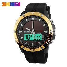 SKMEI Men's Solar Quartz Digital Watch Men Sports Watches Relojes Relogio Masculino LED Display Military Waterproof Wristwatches skmei shock men quartz digital watch men sports watches relogio masculino led military waterproof digital wristwatches black