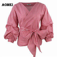 Women Red Gingham Peplum Tops White 3/4 Puff Sleeve Checkered Blouse V Neck Lady Summer Shirts Female Clothes Blusas Bow Tie(China)