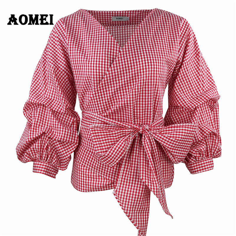 Women Red Gingham Peplum Tops White 3/4 Puff Sleeve Checkered Blouse V Neck Lady Summer Shirts Female Clothes Blusas Bow Tie
