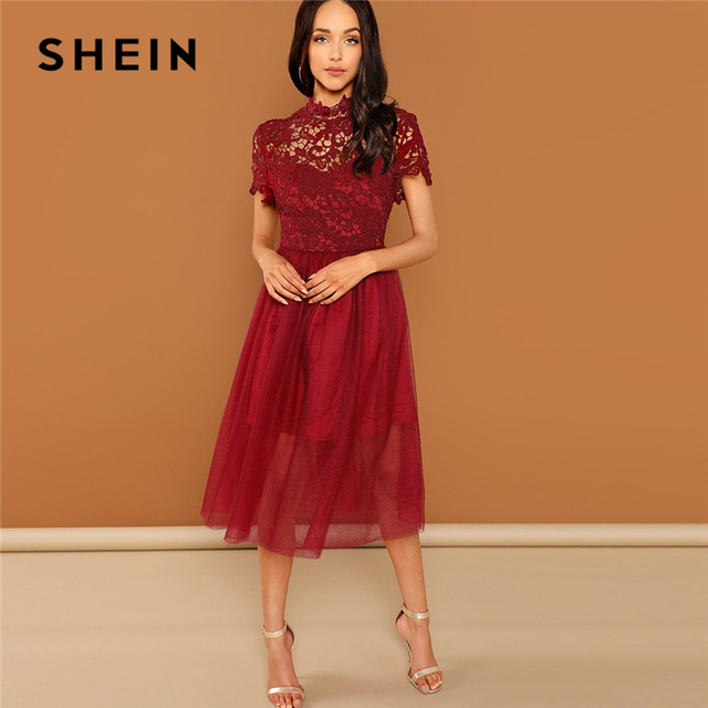 32cfef31ec SHEIN Burgundy Floral Lace Bodice Mesh Dress Plain Stand Collar Fit and  Flare Party Dresses Women Autumn Elegant Dress