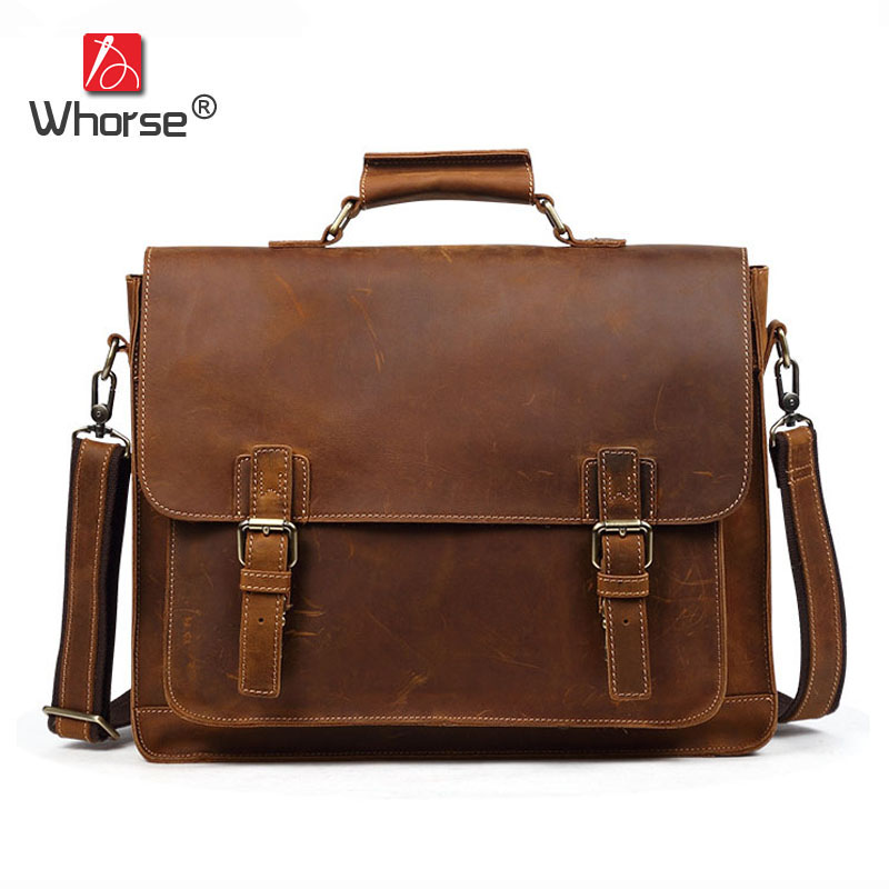 Famous Brand Vintage Style Crazy Horse Leather Briefcase Bag Men Handbag 15 inch Laptop Business Crossbody Messenger Bags W5150 2014 top selling multifunction messenger bags men crossbody bag small vintage famous brand men briefcase smb004