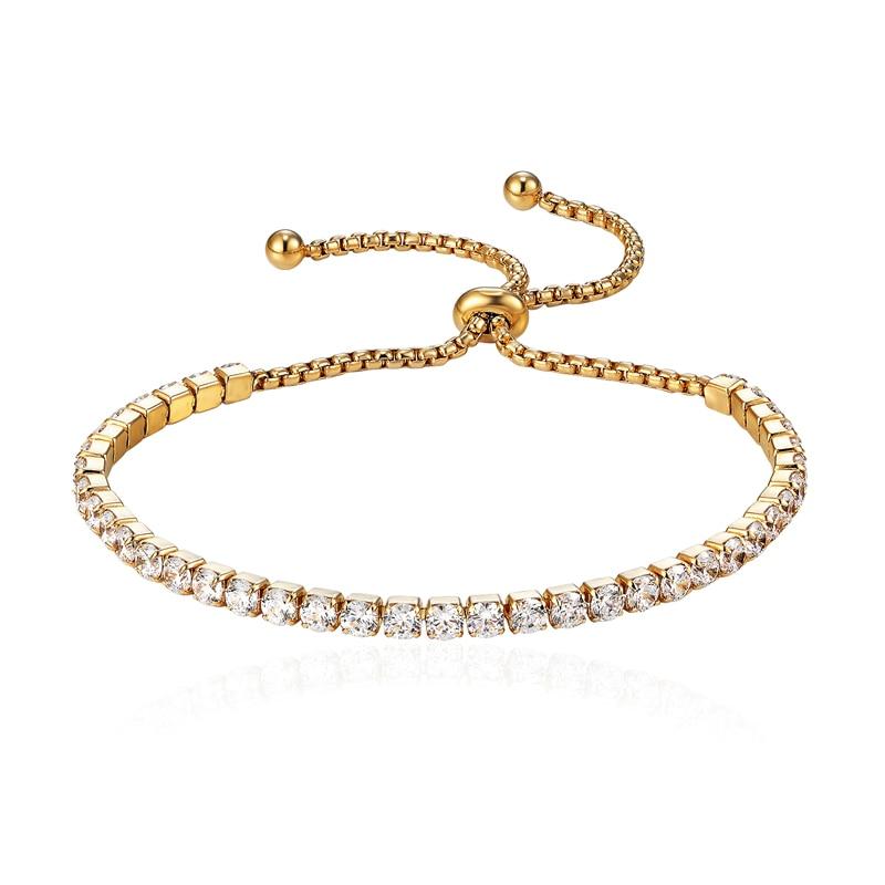 Класически дизайн Регулируем размер Красива жена кристал браслети и браслети Титанов стомана бижута гривна момиче приятел Най-добър подарък