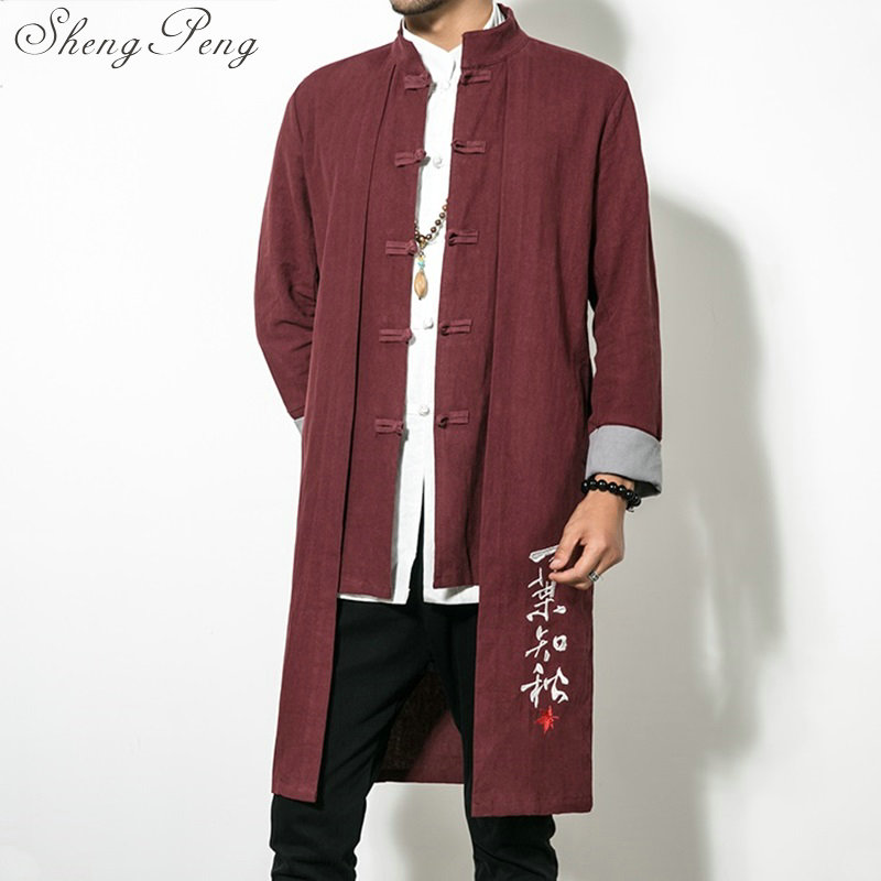 Chinese traditional men clothing traditional chinese clothing long mens coat traditional chinese clothing for men CC131 chinese clothing care
