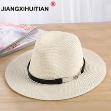 ba0115d76162ee jiangxihuitian 2018 New Summer Sun Hat Ladies Straw Hats Panama Hats Beach  Hats