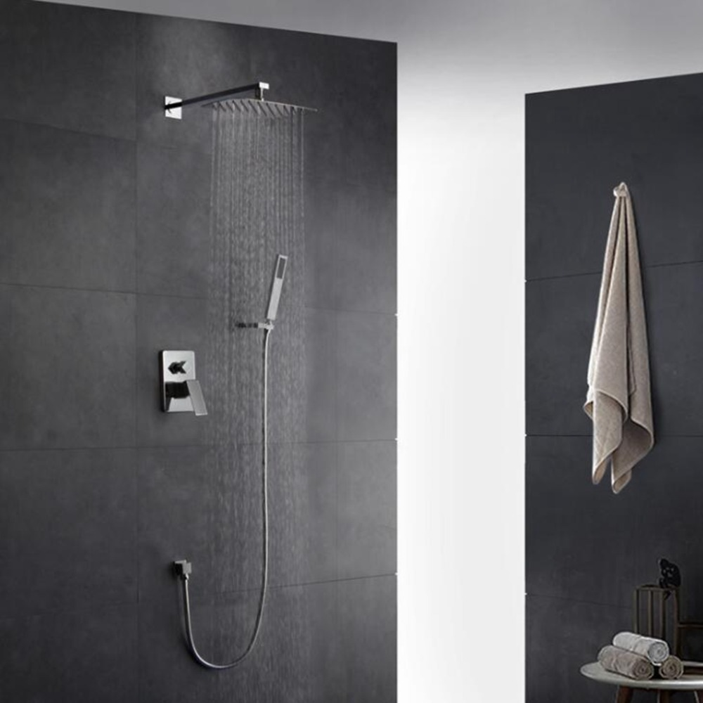 Wall Shower Set Square with Hand Shower in Wall Shower Faucet Rain Shower Set Chrome 8 10 12 ELK068Wall Shower Set Square with Hand Shower in Wall Shower Faucet Rain Shower Set Chrome 8 10 12 ELK068